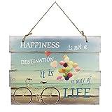 Holzschild Happiness Way of Life Wandschild Schild Dekoschild Spruch Vintage Wandbild MDF 30x40 cm