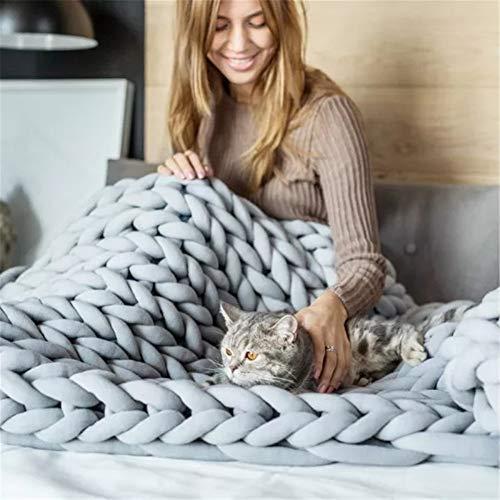 MAXTZ Chunky Wolle Garn Grob Gestrickt Wolle Decke Hand Gewebt Plaid Sofa Bett Bettwäsche Handgemachte Weiche Warme Chunky Knit Decken Hellgrau,50 * 50Cm(450G) (Twisted Spinnen)