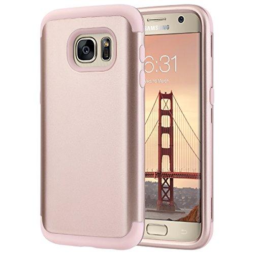 Galaxy S7 Cover, ULAK Samsung Galaxy S7 Custodia ibrida a protezione integrale con parte esterna in 3 strati di morbido silicone e interno rigido cover per Samsung galaxy S7 - Oro Rosa
