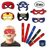 YuChiSX Masques de Super-Héros 12 Pack Enfants Super-Héros Masque de Feutre avec Corde Élastique Demi-Masques de Faveurs pour Sac de Fête Cosplay ou Mascarade Superheroes Party Masques