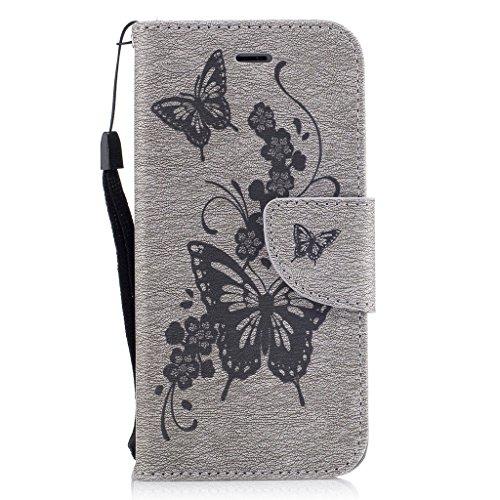 Crisant 3D Blumenschmetterling Drucken Design schutzhülle für Apple iPhone 7 4.7'' (4,7''),PU Leder Wallet Handytasche Flip Case Cover Etui Schutz Tasche mit Integrierten Card Kartensteckplätzen und S grau