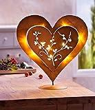 Unbekannt Herz aus Metall mit Rost-Optik beleuchtet 10 LEDs Deko Herz mit Beleuchtung