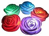 6er 7 Farben LED-Schwimmkerze romantische Rose Blume Nachtlicht (6er)