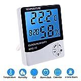 Zexuan Termómetro Higrómetro LCD Digital con Alarma, Temperatura Interior, Humedad Monitor Medidor, Pantalla LCD con Retroiluminacion Multifuncional con Higrómetro, Medición en Casa, en Oficina