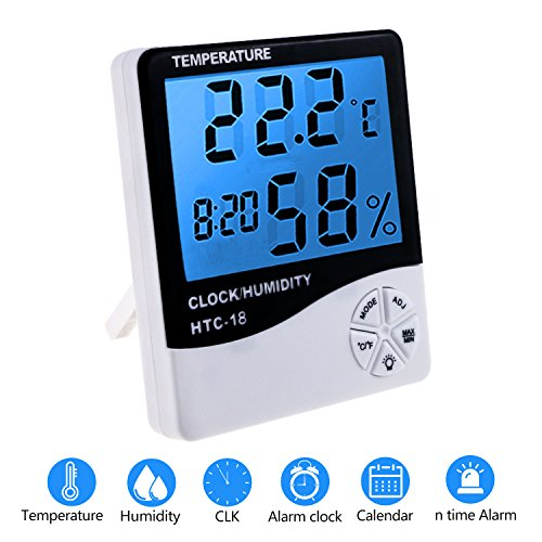 Zexuan Termómetro Higrómetro LCD Digital Alarma