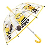 Minions Kinder Schirm für Jungen - Stockschirm mit Ich - Einfach Unverbesserlich Motiv - Robuster und Windfester Regenschirm mit Transparenter Kuppel - 5 bis 7 Jahre - Durchmesser 74 cm - Perletti