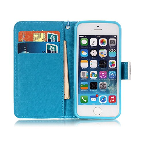 iPhone SE Leder Brieftasche, iPhone 5 Wallet Case Cover, Aeeque® 3D Full Body Premium Trennbar Tragegurt [Standfunktion Kartenfächer] Cute Tier Milchkuh Muster Kunstleder Schale Handytasche für iPhone 3D Bunte Muster #7