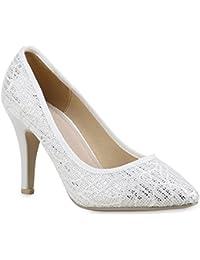Damen Ziehen Auf Schließen Zehe Blend-Materialien Flache Schuhe, Schwarz+Spitze, 39 AgooLar