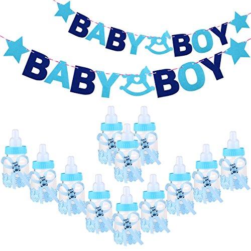 Toyvina Baby Feeder Style boîte de bonbons bouteille bébé cadeau boîte de douche avec des lettres BABY fille guirlande bannière pour les faveurs de fête décorations (bleu)