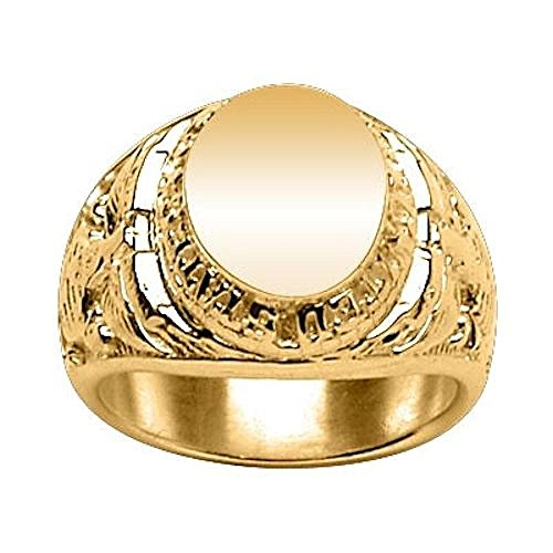 Marine Corps Ring (So Chic Schmuck - Siegelring Ring Fingerring US Marine Corps Oval Vermeil (Silber 925 mit Goldüberzug 750) - Individuell Gestaltbar: Gravur kostenfrei - Größe 70)