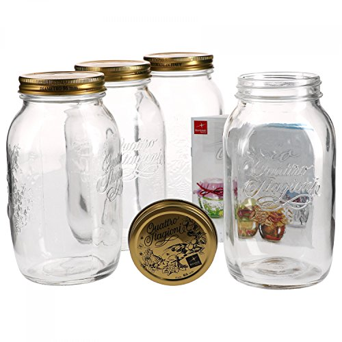 4er Set Einmachglas Original Quattro Stagioni 1,5L incl. Bormioli Rezeptheft 1.5 Liter Glas