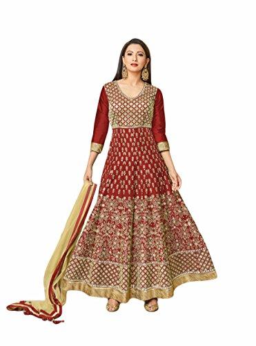 Maroon colour embroidery raw_silk semi_stitched Anarkali party-wear-salwar-kameez