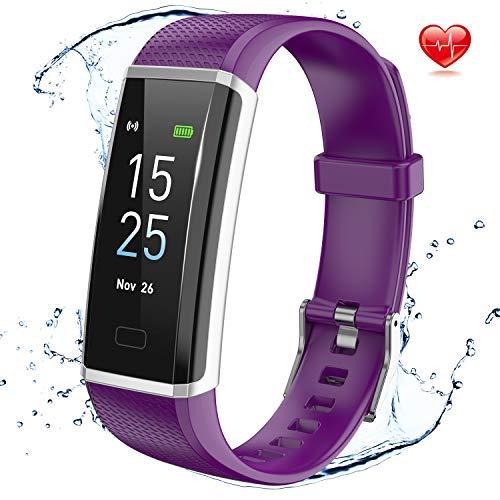 Delishee Fitness Armband Wasserdicht IP68 Fitness Trackers mit Pulsmesser Aktivitätstracker Kalorienzähler ,Pulsuhren,Schrittzähler, Vibrationsalarm Anruf SMS für iOS Android Handy,Lila