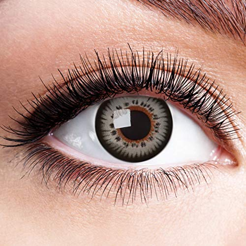 Farbige Kontaktlinsen Grau Motivlinsen Ohne Stärke mit Motiv Graue Linsen Halloween Karneval Fasching Cosplay Anime Kostüm Grey Butterfly Effect Doll Eyes (Devil Doll Halloween Kostüm)