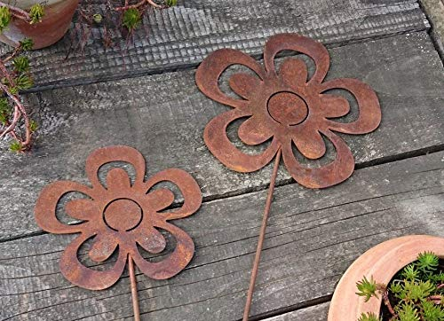 2 Edelrost Blumen offen auf Stab Gartenstecker - 3