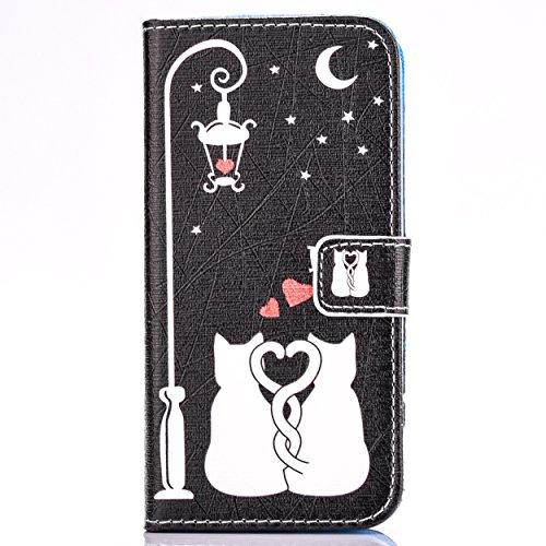 Cozy Hut Schutzhülle / Cover / Hülle / Handyhülle / Etui für Samsung Galaxy S6 Bunt Muster Design Folio PU Leder Tasche Case Cover im Bookstyle mit Standfunktion Kredit Kartenfächer mit Weich TPU Inne Love Cats