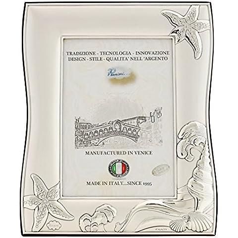NETTUNO L Cornice per Foto 10x15cm Portafoto Argento Artigianale Made in Italy