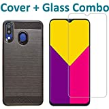 POPIO Tempered Glass & Back Cover Case Combo FOR Samsung Galaxy M20 (Transparent Glass & Cover Combo)
