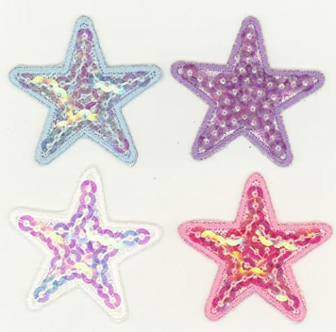 Sequined stars, iron, sew or glue on craft motifs x 4 assorted by Pink Pineapple