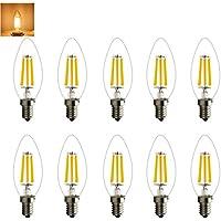 E14 2W 4W 6W Lampadine Candela LED, Pari a Lampadine Incandescenza da 20W/40W/60W, 200LM/350LM/500LM, Luce Bianca Calda, 2700K, Lampadine a LED, Attacco E14 edison standard (10 pezzi, 6w)