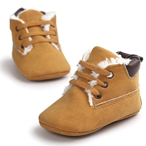 OverDose Unisex-Baby weiche warme Sohle Leder / Baumwolle Schuhe Infant Jungen-Mädchen-Kleinkind Schuhe 0-6 Monate 6-12 Monate 12-18 Monate A-Braun 2-PU Leater