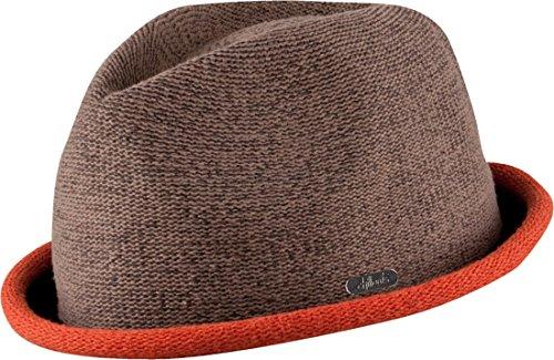 Feinzwirn Boston - moderner Trilby Hut in 4 Farben mit farbig abgesetzer Krempe - Top Qualität (braun/orange-L-XL)