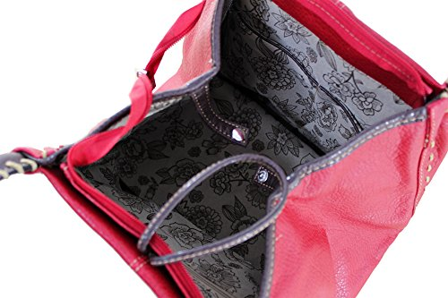 Kukubird Designer Boutique Faux Leather Button Detail Handbag FUSCHIA