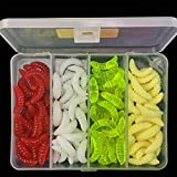 #2: Ocamo 100 Pcs 4 Colors Fishing Lures Artificial Bread Bug Soft Bait Set Fishing Baits with Tackle Box