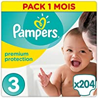 Pampers - Premium Protection - Couches Taille 3 (6-10 kg) - Pack 1 mois (x204 couches)