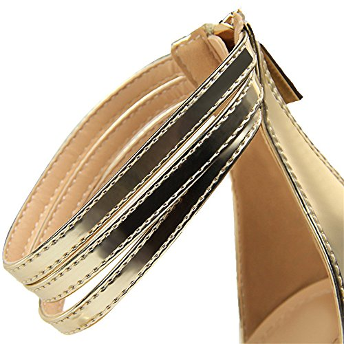 z&dw Mode simple talon fin haut sexy avec sandales Or