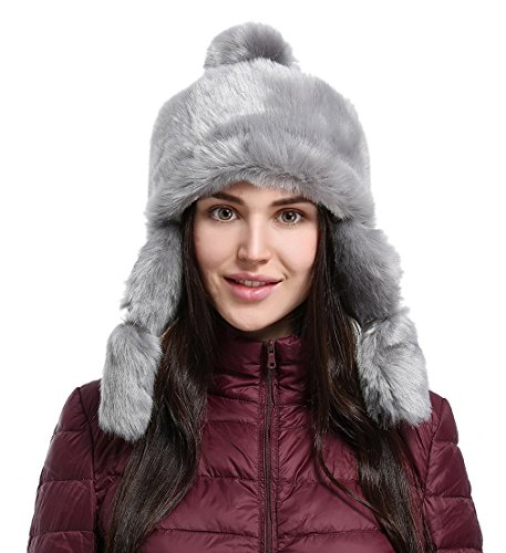 Jimall Mongolian Faux Fur Winter Women Hat Trapper Russian Cossack Pompom