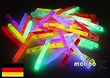 50 Mini Knicklichter Leuchtstäbe | Bissanzeiger Glowstick | Partylichter Neon | rot gelb grün pink orange blau | PREMIUM Lichter, viele viele Stunden für große Freude | deutsche Marke molinoRC® | Expressversand BRD