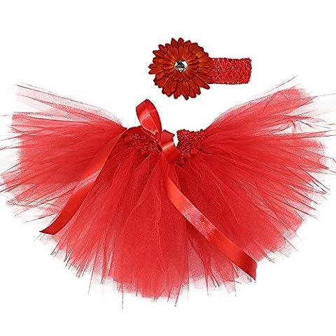 Honeystore Baby Fotoshooting Kostüm Haarbänder Rock Set Foto Outfit Stirnbänder Farbenfroh Tütü Balletrock Mini Unterrock Fotografie Verkleidung One Size Rot mit (Einfache Selbst Gemachte Kostüme Für Halloween)