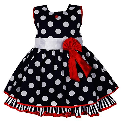 Wish Karo Black Color Beautiful Wihte Dotted Party Wear Frock Dress (2-3 Years) FRB125-9