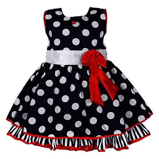 ddc8c8a5e Wish Karo Polka Dots Cotton Baby Girls Party Wear Frock Dress DN2125 ...