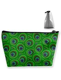 El pavo real verde empluma bolsos grandes del maquillaje del viaje del bolso del artículo de