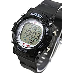 QBD Boys Super Value Waterproof Multi Function LED Digital Stopwatch Alarm Backlight Sports Wrist Watch (V-Black)
