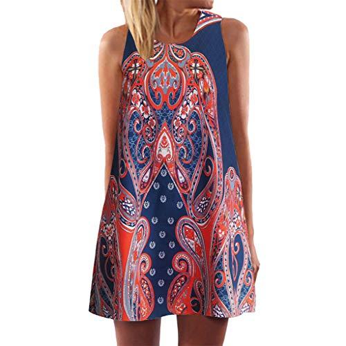 Yvelands Vintage Boho T-Shirt Kleider Minikleid Frauen Sommer ärmellose Strand gedruckt kurzes (Orange,EU-42/L2)