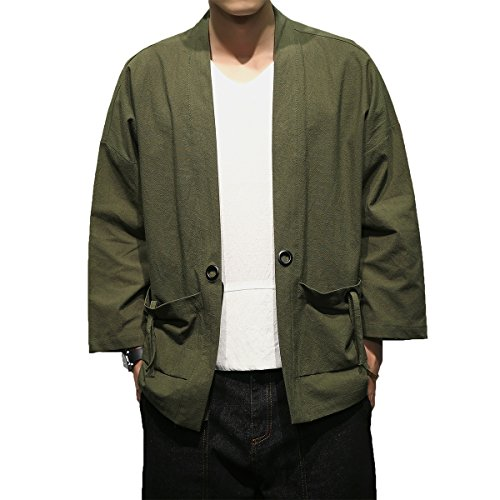 Mirecoo Herren Baumwolle Japan Happi Kimono Haori Jacke Übergangsjacke (Druck-blouson)