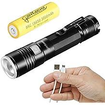 PovKeever Mini LED linterna recargable USB, 900 Lumen CREE XPE2 R5 linterna 5 modo Pocket linterna 18650 batería incluida para el trabajo / Senderismo / Camping