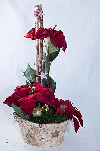 Arreglo floral con poinsettias rojas – decoración de mesa con flores artificiales para Navidad