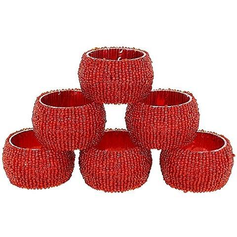 Set von 6 - Serviettenringe Packen Rot - Rund Serviettenringe für Hochzeitsfest Urlaub Abendessen Aushöhlen - Durchmesser 6,5