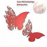 ElecMotive 50 Pezzi Farfalle 3D Segnaposto Farete Misura Grande Adesiv da Parete Casa Deco Rosso
