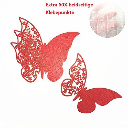 ElecMotive 50 Stück Schmetterling Tischkarten Namenskarten Glasanhänger Wandsticker für Tischdeko Hochzeit Party Haus Deco (Rot) -