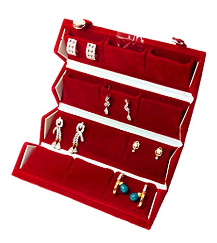 Atorakushon 12 pair Earrings / 24pc Nose Pin Organizer Red Velvet Folding jewellery Box