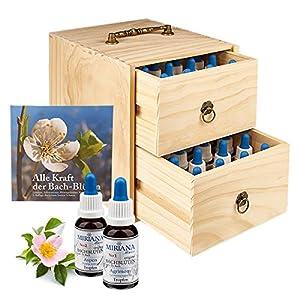 Bachblüten Set 10ml, 40 x Original Bachblüten, inkl. Holzbox und Buch