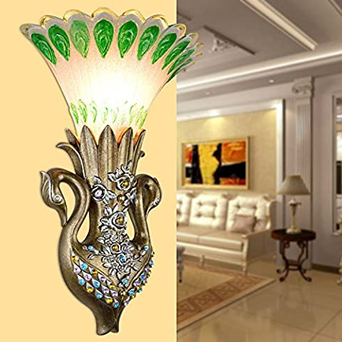 LLHZ-lampada da parete LED creative scolpito continentale bar lampada da parete home resina di vetro camera da letto Pavone den lampadario di cristallo
