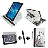3er Starter Set für Aldi - MEDION LIFETAB X10302 MD 60347 Tablet PC Tasche + Stylus Pen + Schutzfolie - 10.1 Zoll Paris Blume 360_