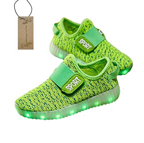Genda 2Archer Kinder Jungen Mädchen 7 Farben Breathable LED leuchten Schuhe USB Aufladen Mode Sneakers Grün