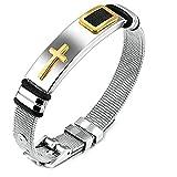 Onefeart Edelstahl Einfacher Stil Kreuzform Glücklich Armband Bangle für Herren Gold Einstellbare Größe